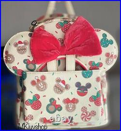 New Loungefly Disney Mickey Minnie Christmas Cookies Backpack & Ears Set IN HAND