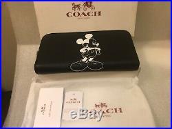 Nwt Coach Disney Mickey Mouse Black White Lthr Zip Around Acc Wallet 54000 Nib