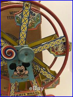 RARE 1950s DISNEYLAND MICKEY MOUSE FERRIS WHEEL WIND UP TIN J CHEIN & CO DiSNEY