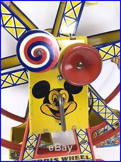 RARE 1950s J CHEIN & CO MICKEY MOUSE DISNEY FERRIS WHEEL WIND UP TIN LITHOGRAPH