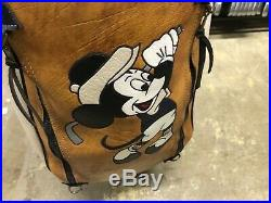 RARE Belding Sports DISNEY MICKEY MOUSE Leather GOLF BAG 9 Brown Blue White 90s