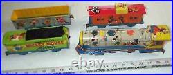 RARE Mickey & Minnie Mouse Walt Disney MARX Wind-Up Litho Tin Toy Train Set, WOW