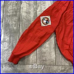 RARE Vintage Walt Disney Mickey Mouse Air Flight Red Full Zip Jacket Mens Large