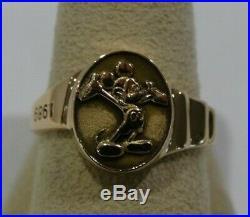 Rare! 14kyg Disney Mickey Mouse Cast Service Ring Size 9 1/4