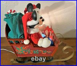 Santa's Best HUGE Animated Disney Mickey Minnie Mouse Sleigh Ride WATCH VIDEO