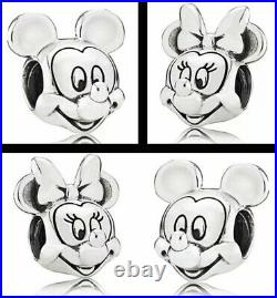Sterling Silver Stamped Disney S925 Minnie Mickey Mouse Charm Set Suits Pandora