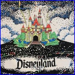 VTG 80s 90s Disney World Disneyland Fireworks Black Light T-Shirt All Over Print