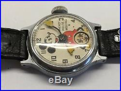 Vintage 1930s Ingersoll Mickey Mouse Wrist Watch Wind Up Mechanical Disney Works