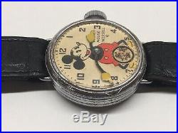 Vintage 1933 Sears Wire Lug Mickey Mouse Wrist Watch Ingersoll 30s Disney