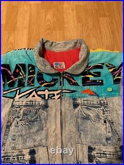 Vintage 1990 Too Cute Disney Mickey Mouse Towel Denim Jean Jacket One Size