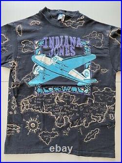 Vintage 90s Indiana Jones All Over Print Disney Movie Promo Faded Black Shirt XL