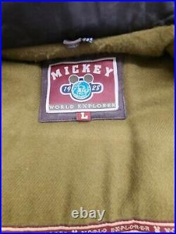 Vintage DISNEY MICKEY MOUSE EXPLORER BOMBER JACKET Brown Leather MEN'S Large