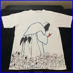 Vintage Disney Cruella de Vil 101 Dalmatians T-Shirt Mens XL All Over Print Usa