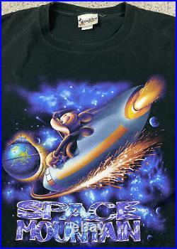 Vintage Disney Mickey Mouse Space Mountain (XXL) TShirt Tee WDW 90s RARE