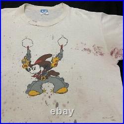Vintage Mickey Mouse Cowboy Guns Mens T-Shirt Walt Disney Rare 1980s Size XL