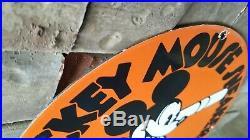 Vintage Mickey Mouse Porcelain Gas Pump Walt Disney Converse Baseball Shoes Sign