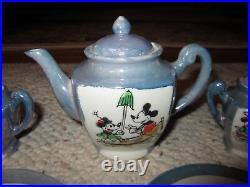 Vintage Walt Disney 1930 Mickey Mouse Tea Set WithBottom Of Box